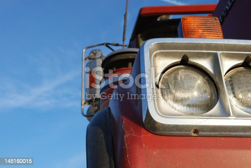 Headlights of a dump truck