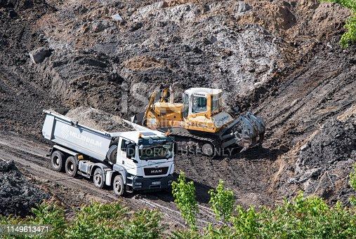Belgrade,  Serbia - 04.05.2019 / Big truck with sand in trailer and bulldozer