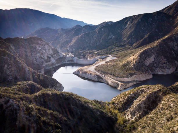 big tujunga dam- aerial drone shot - san fernando valley stock photos and pictures