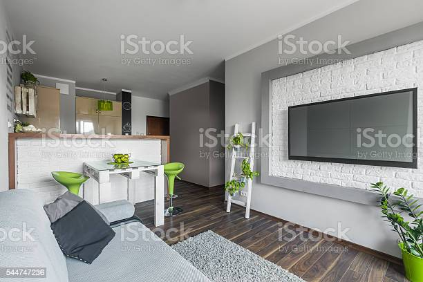 Big Tv In Small Living Room Stock Photo Download Image Now Istock