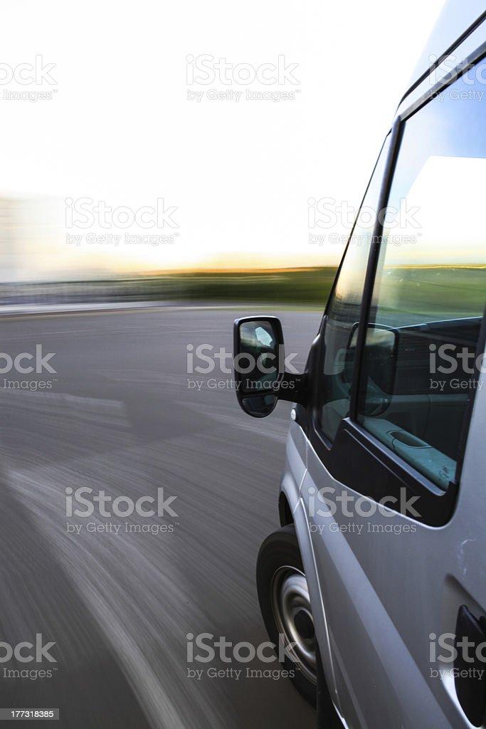 big van in fast drive stock photo