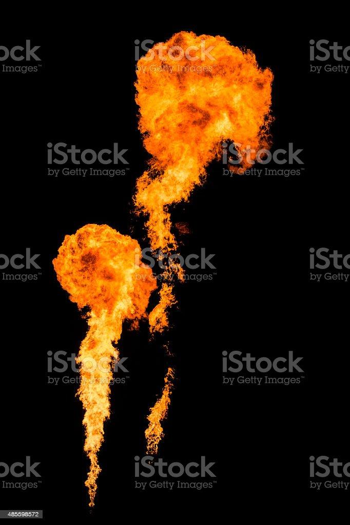 Big vertical fire burning high stock photo