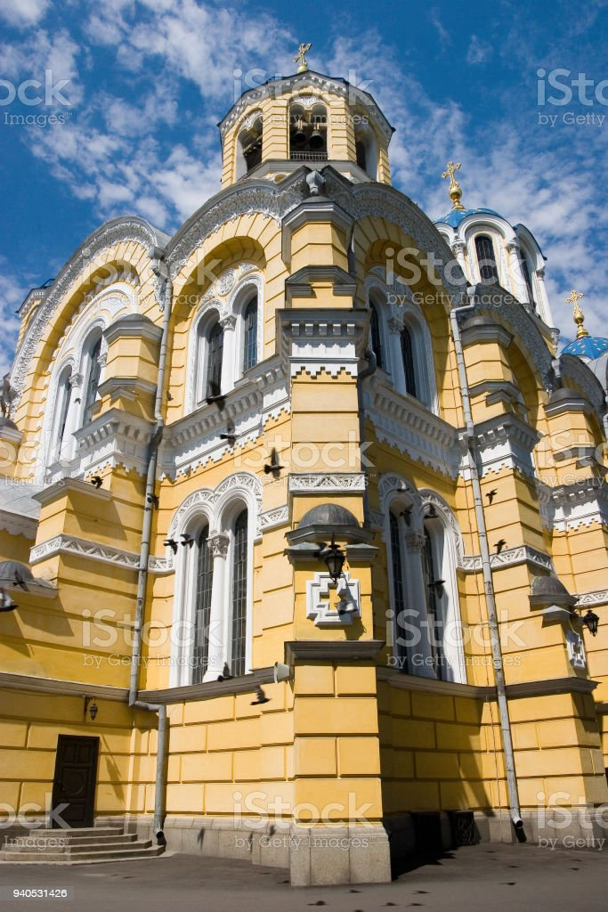 Big Vladimir Cathedral in Kyiv - one of the city's major landmarks and the mother cathedral of the Ukrainian Orthodox Church - Kiev Patriarchy stock photo