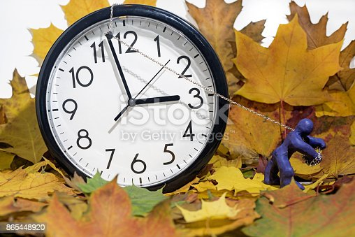 istock Big Wall Clock going to winter time. 865448920