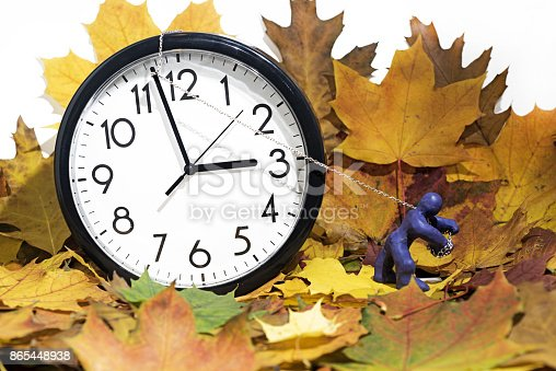 607492948 istock photo Big Wall Clock going to winter time. 865448938