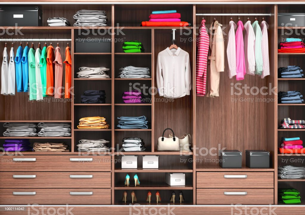 Big wardrobe with different clothes for dressing room. 3d illustrations stock photo
