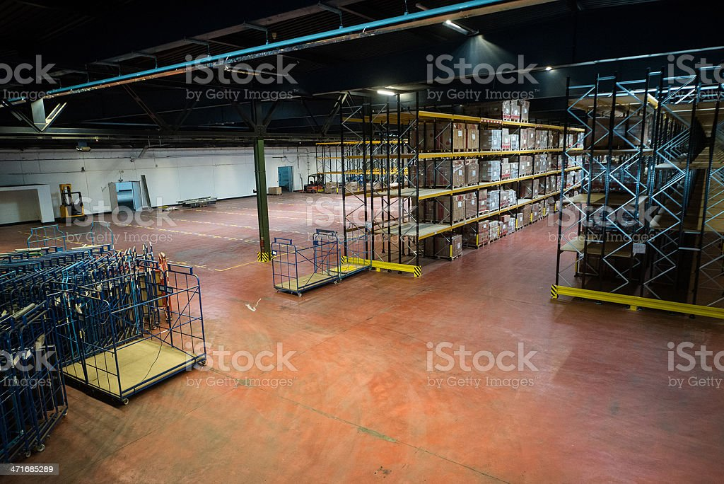 big warehouse indoor almost empty stock photo