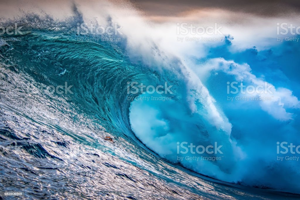 Big wave breaking at sunset royalty-free stock photo