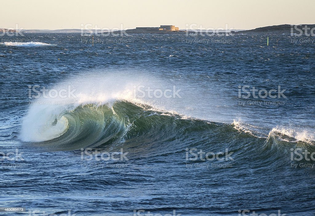 Big wave near Akerøya, Hvaler Islands, Norway royalty-free stock photo