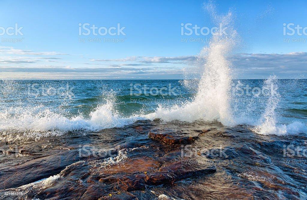 Big Wave on Lake Superior stock photo