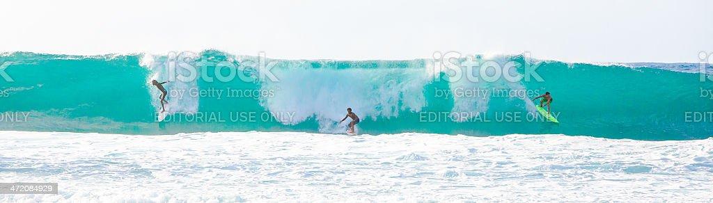 Big Wave Surfing in Hawaii stock photo