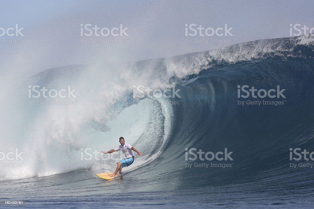 big wave surfing stock photo