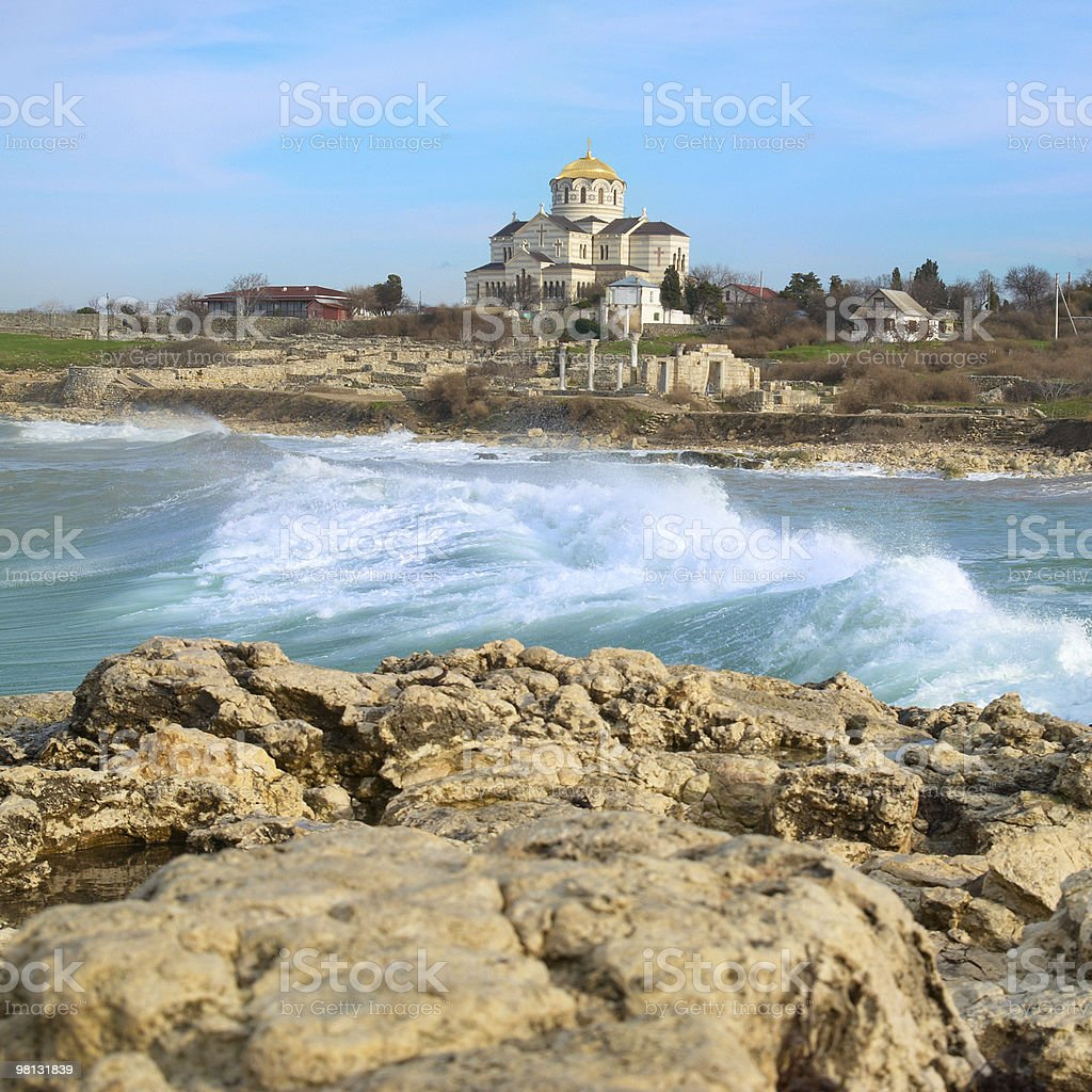 Big waves and the castle royalty-free stock photo