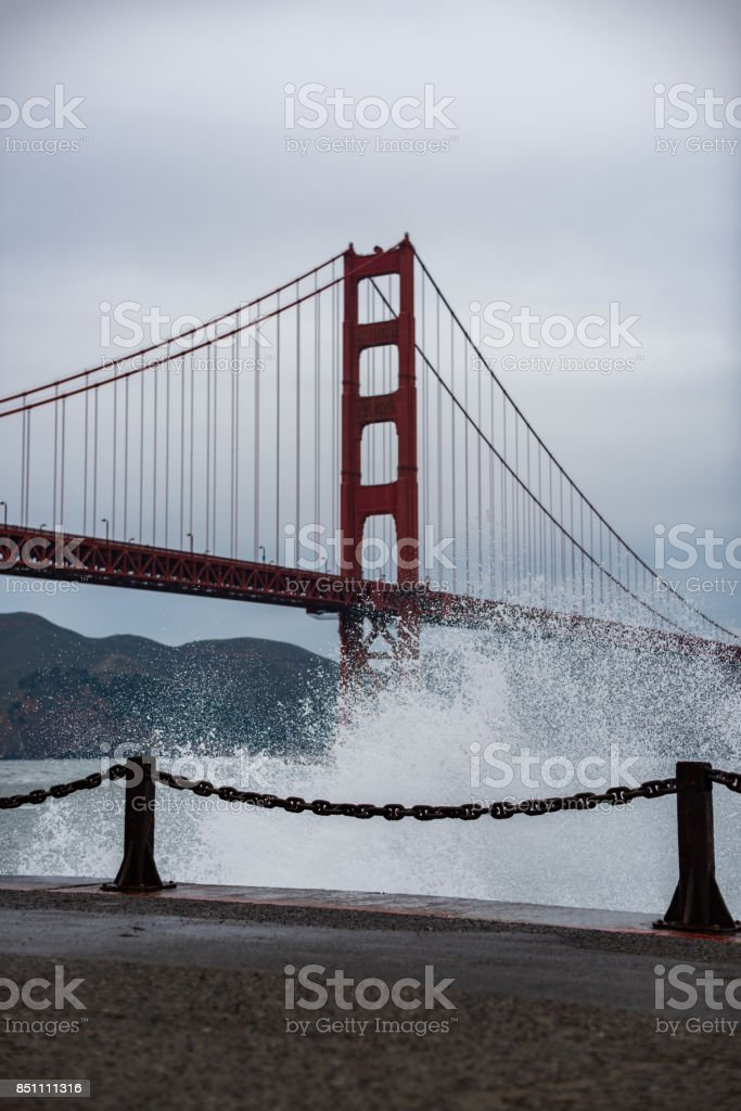 Big Waves Breaking at the Golden Gate Bridge stock photo