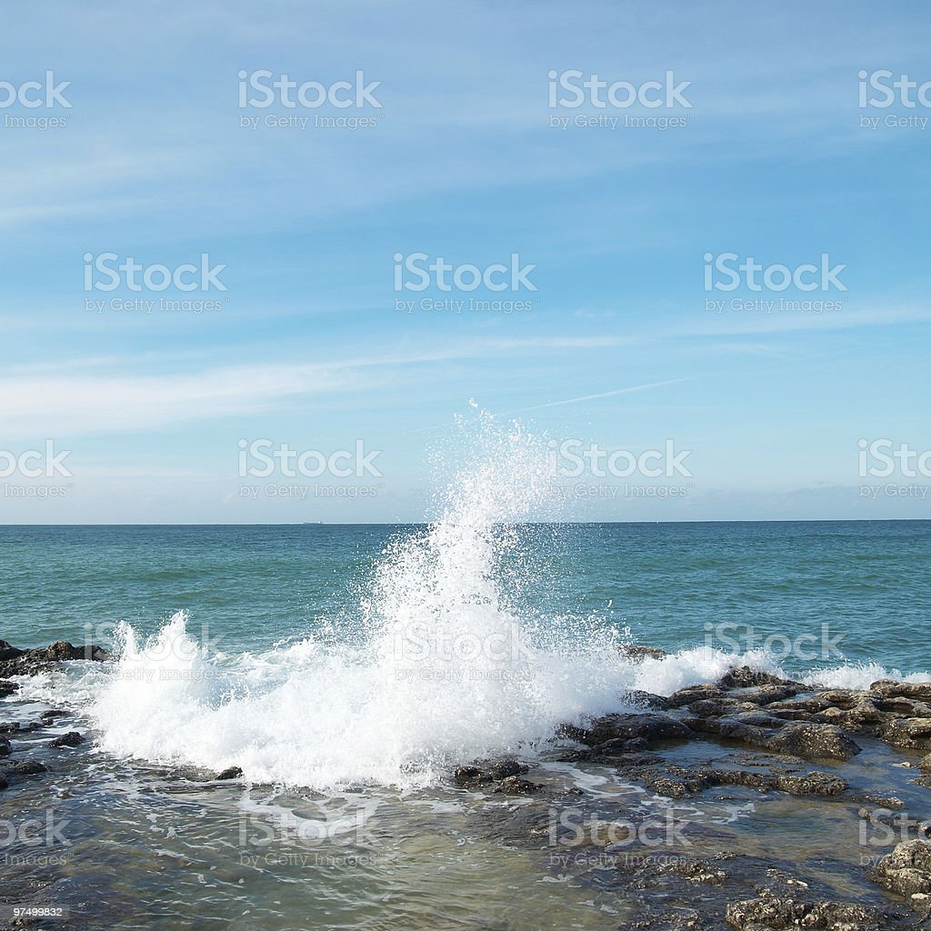 Big waves breaking on the shore royalty-free stock photo