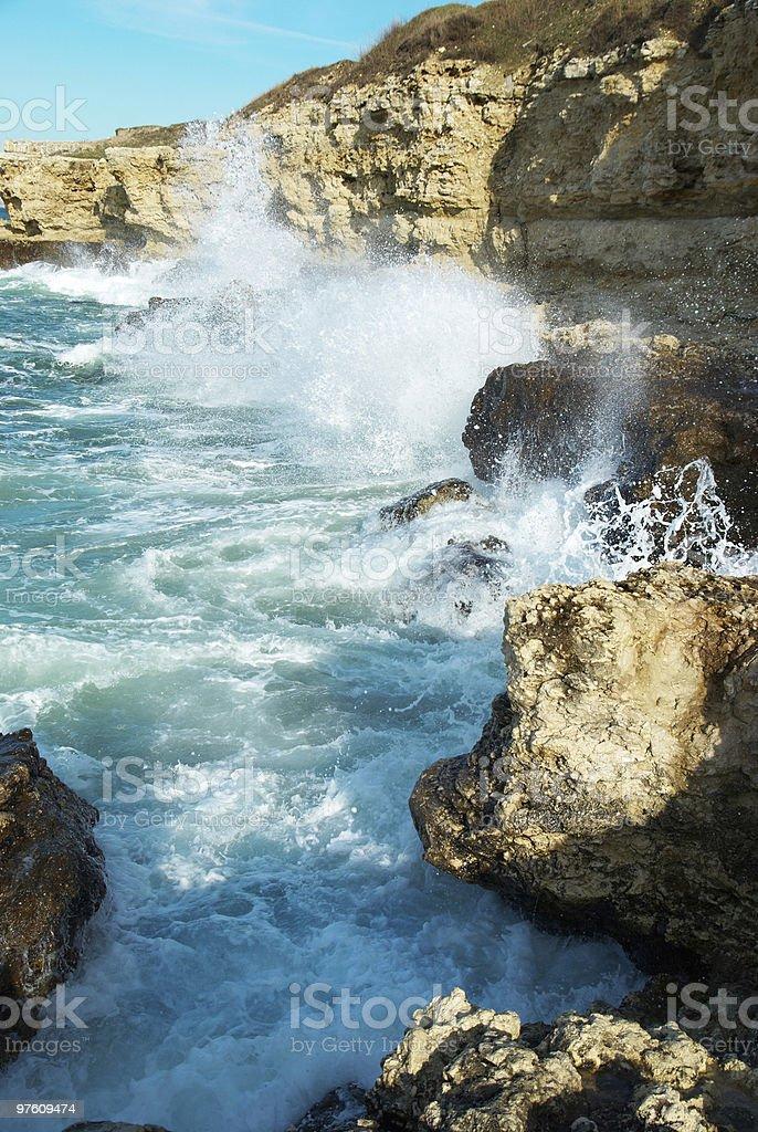 Grosses vagues se briser sur le rivage photo libre de droits
