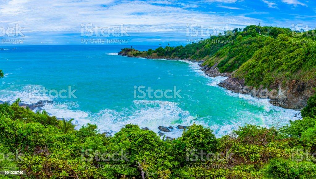 big waves in rainy season around Promthep cave - Royalty-free Beach Stock Photo