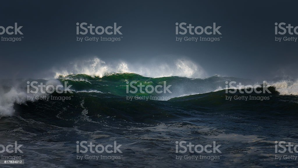 big waves with stormy weather stock photo