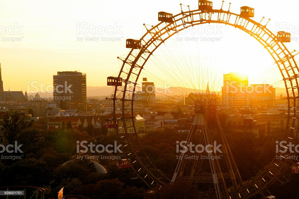 Big wheel at sunset stock photo