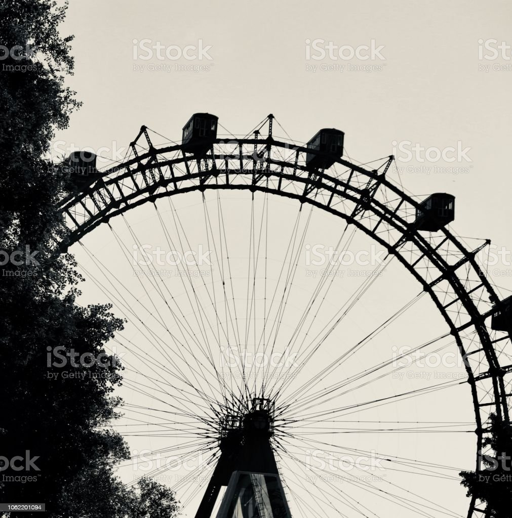 Big wheel in black and white stock photo