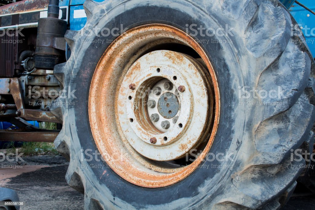 Big wheel of Agricultural tractors And the industry. stock photo