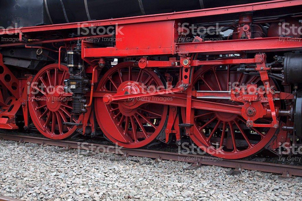 Big Wheels of vintage steam train stock photo