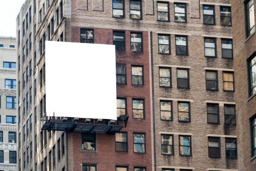 Big white billboard on the wall.