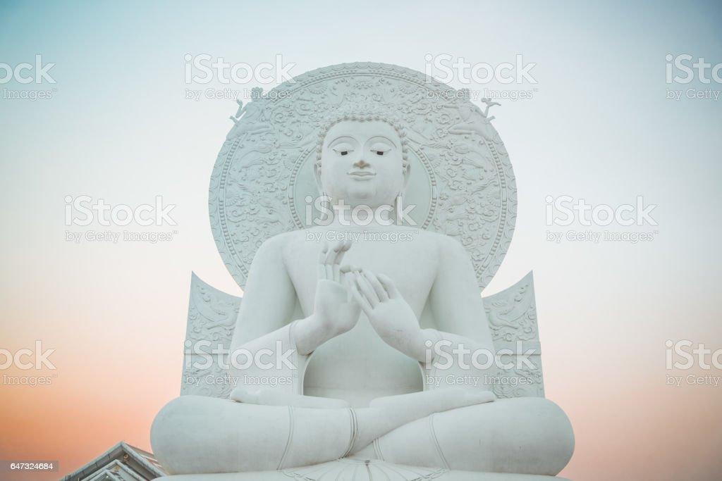 Big White Buddha image in Saraburi, Thailand. stock photo