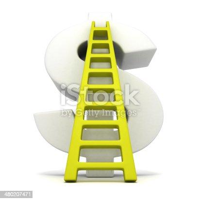 big white dollar symbol and green success ladder. business finance concept 3d render illustration
