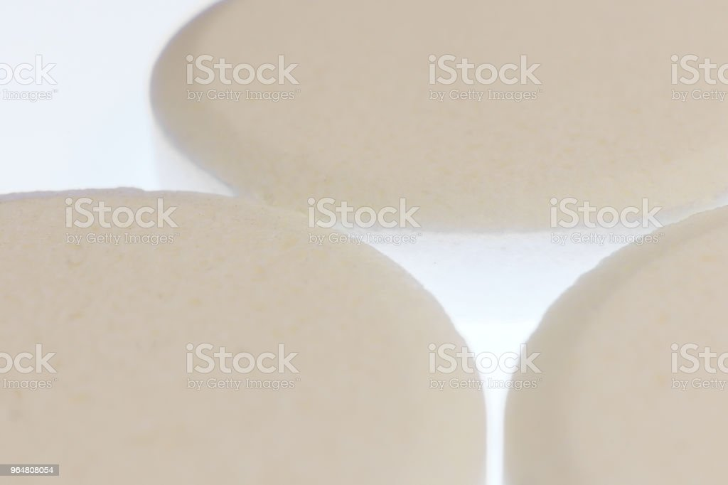 Big White Medicine Tablets. Pharmacy Pills Background. Macro Closeup. royalty-free stock photo