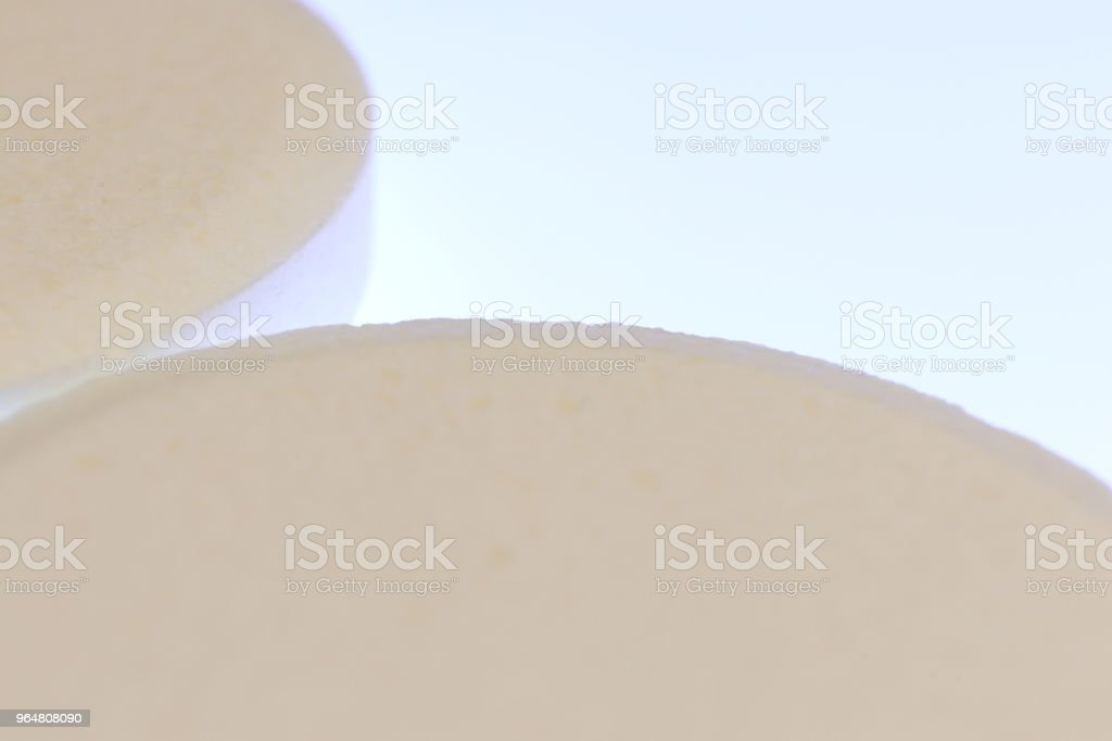Big White Medicine Tablets. Pharmacy Pills Background with Place for Text. Macro Closeup. royalty-free stock photo