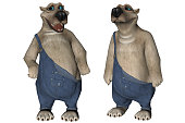 Big white polar cartoon bears wearing overalls isolated on white, 3d render.