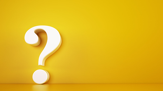 istock Big white question mark on a yellow background. 3D Rendering 1166678206