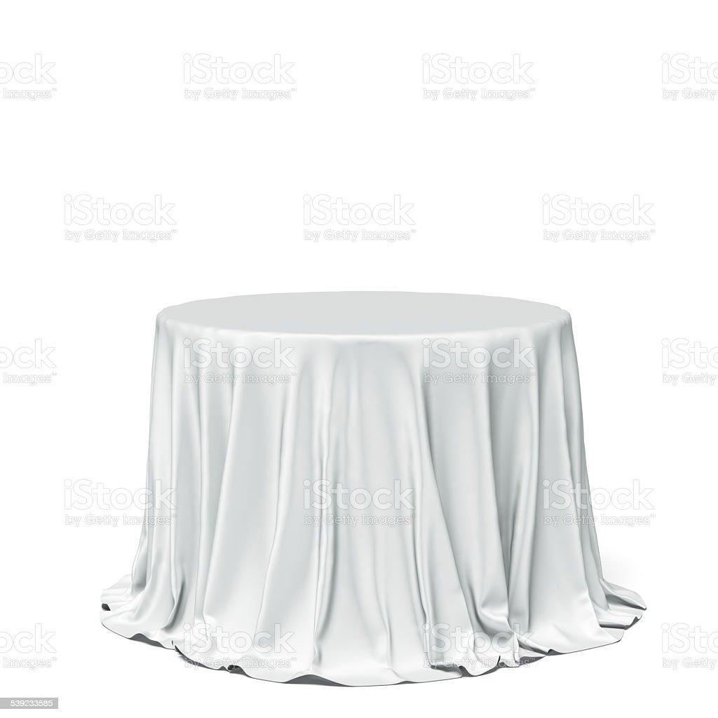Big white mesa redonda y tela foto de stock libre de derechos