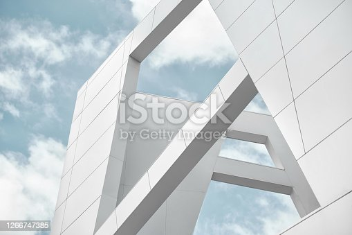 istock Big white walls against the blue sky 1266747385