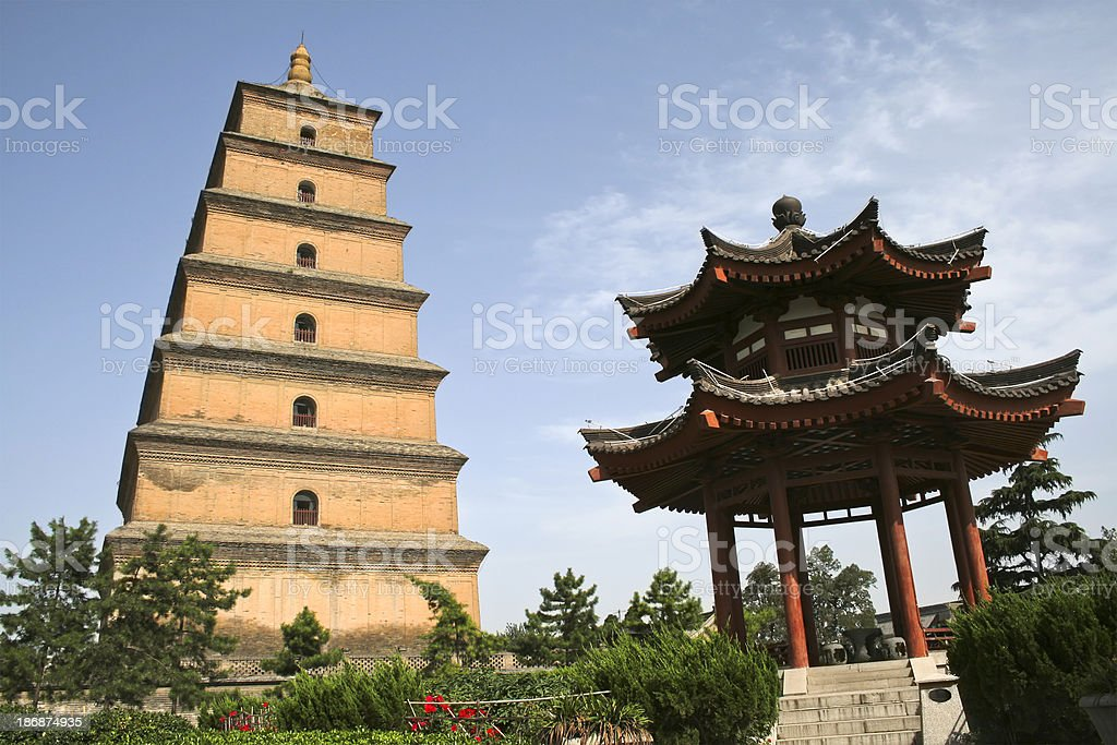 Big Wild Goose Pagoda and Pavilion stock photo