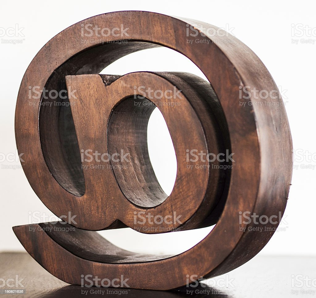 Big Wooden Email Symbol Stock Photo More Pictures Of At Symbol