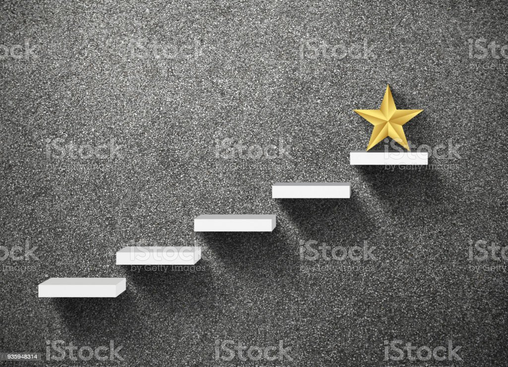 big yellow Star on stair, business successful concept stock photo