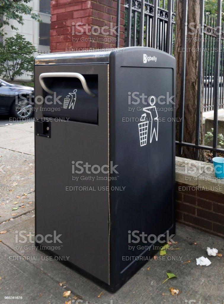 Bigbelly Talking Trash Cans in local Bronx Community zbiór zdjęć royalty-free