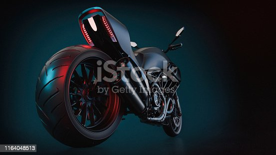 istock bigbike Motorcycle On the backdrop of blue and black. 1164048513