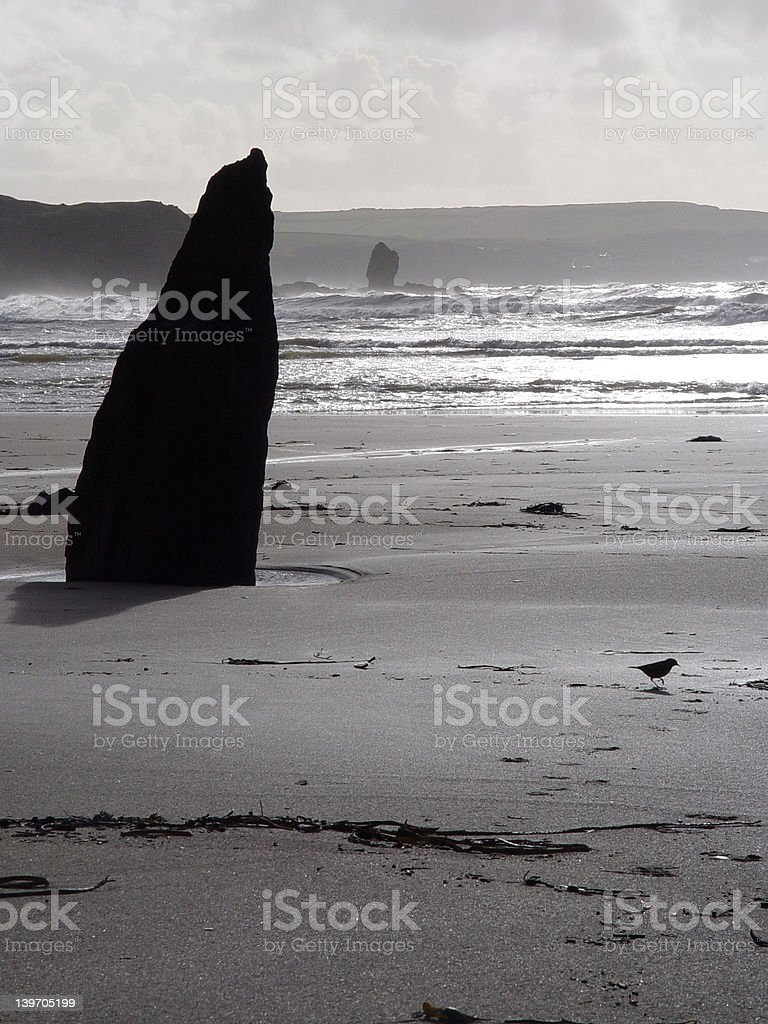 Bigbury beach rock alignment royalty-free stock photo