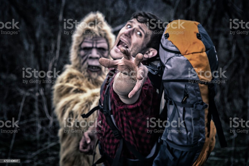 Bigfoot chasing a camper thru the woods stock photo