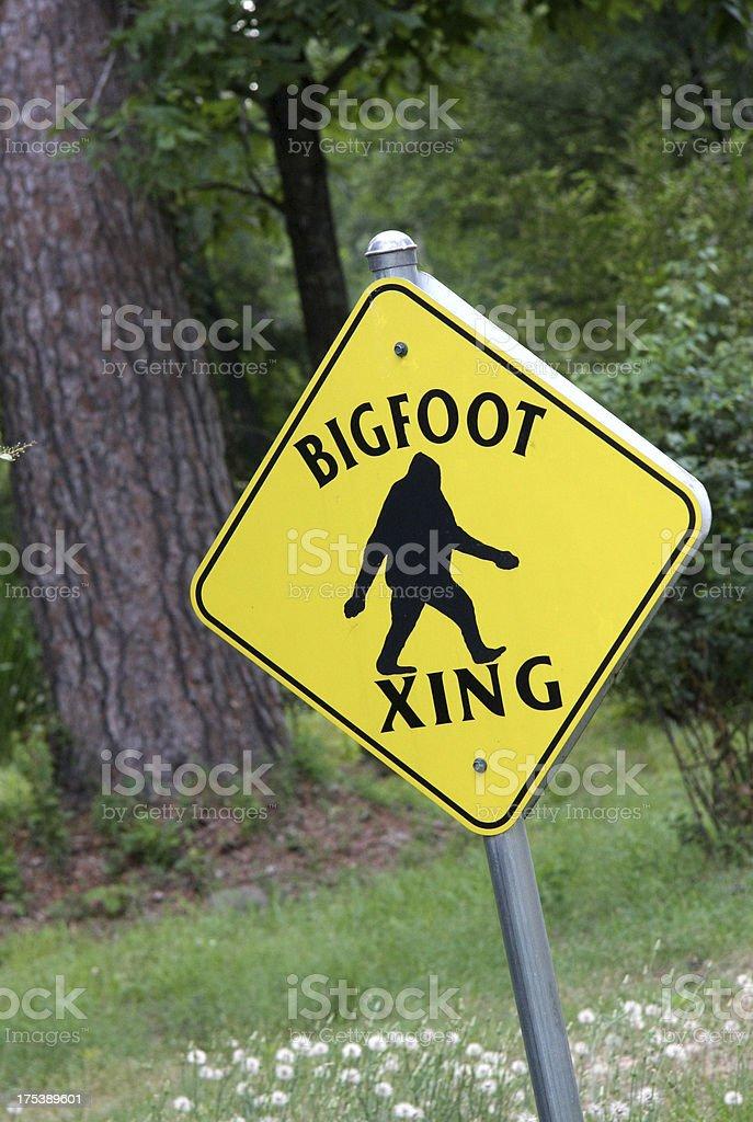 Bigfoot Crossing Sign stock photo