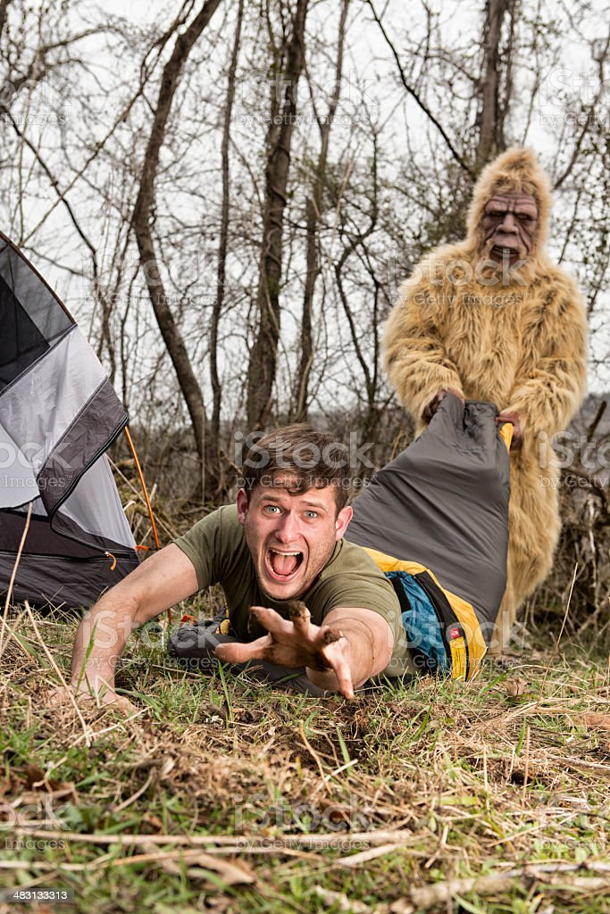 Bigfoot dragging off a camper thru the woods stock photo