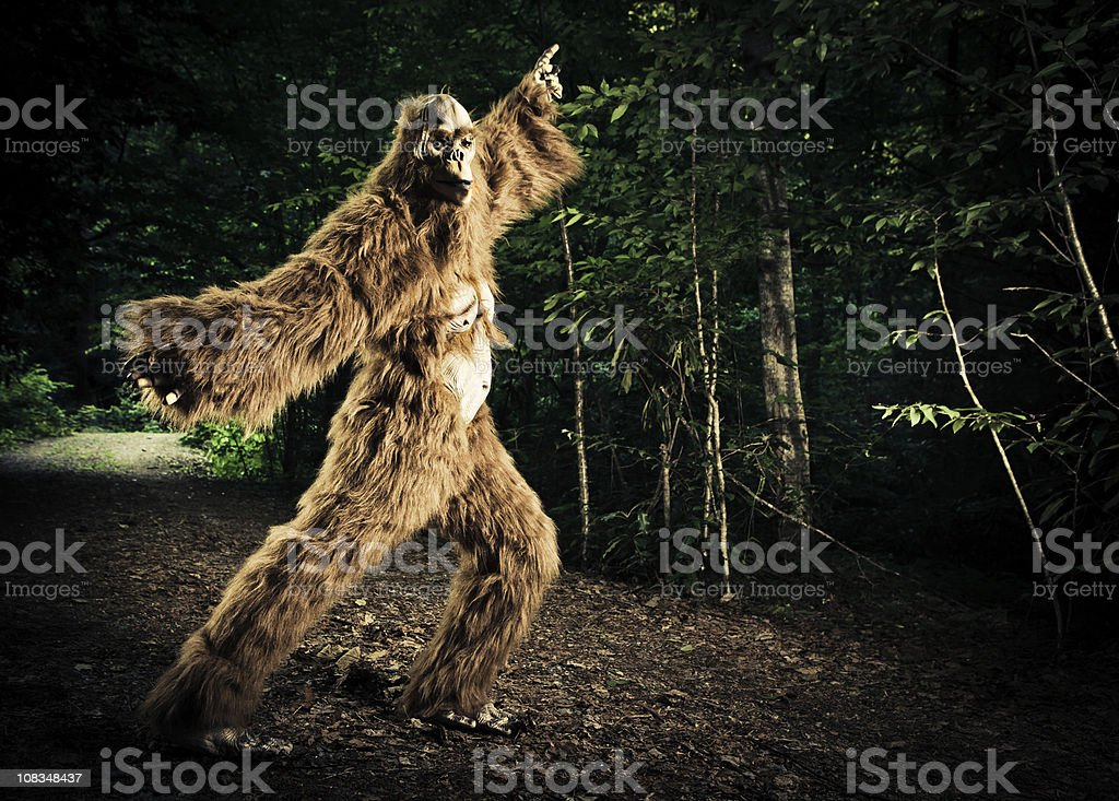 bigfoot making a disco dancing step on the road stock photo