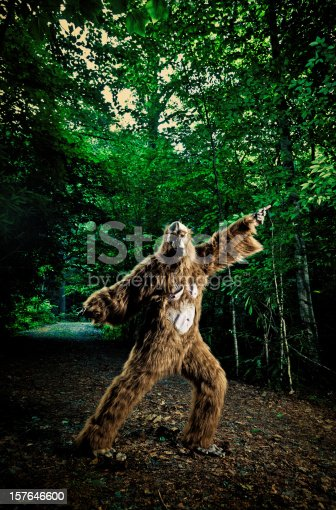 istock bigfoot making a disco dancing step on the road 157646600