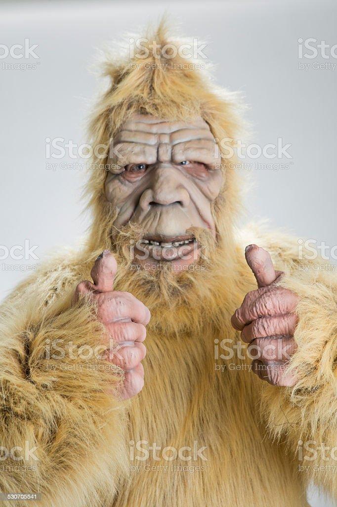 BigFoot Sasquatch thumbs up stock photo