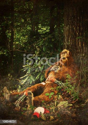 istock bigfoot sleeping after eating a human 108348231
