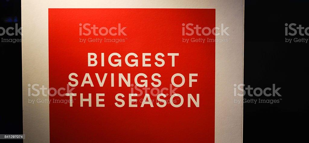 Biggest Savings of the Season Sign stock photo
