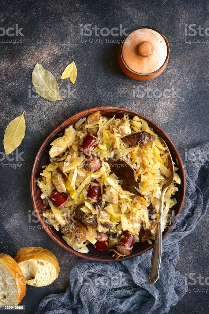 Bigos - stewed cabbage stock photo